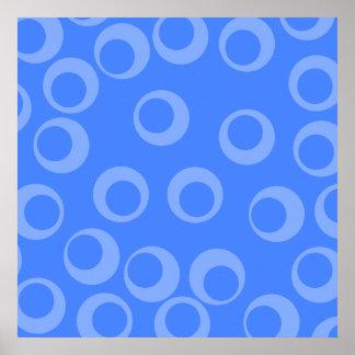 Retro pattern Circle design in blue Poster