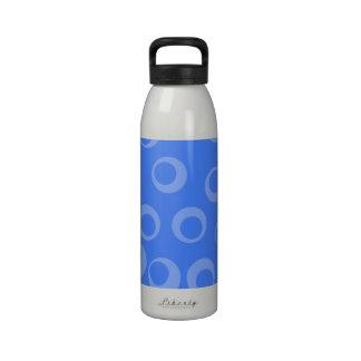 Retro pattern Circle design in blue Water Bottle