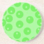 Retro pattern. Circle design in green. Beverage Coasters