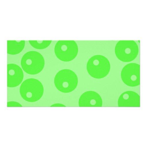 Retro pattern. Circle design in green. Custom Photo Card