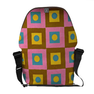 Retro Pattern, Geometric Pink, Brown Yellow & Blue Commuter Bag