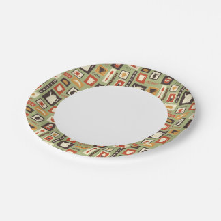 Retro pattern with kitchen dishes for breakfast 7 inch paper plate