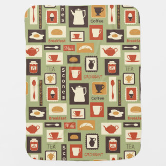 Retro pattern with kitchen dishes for breakfast baby blanket