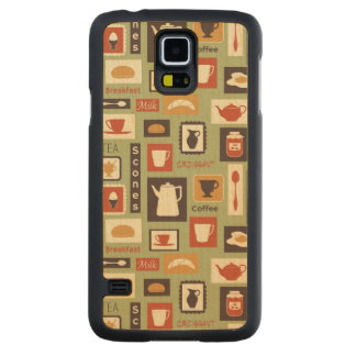 Retro pattern with kitchen dishes for breakfast carved maple galaxy s5 case