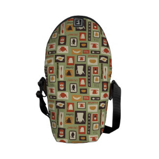 Retro pattern with kitchen dishes for breakfast commuter bags