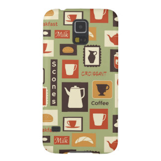 Retro pattern with kitchen dishes for breakfast galaxy s5 cover