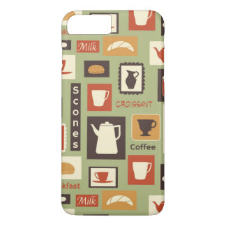 Retro pattern with kitchen dishes for breakfast iPhone 7 plus case