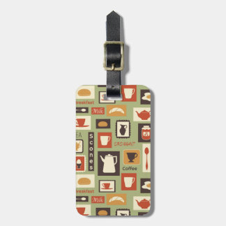 Retro pattern with kitchen dishes for breakfast luggage tag
