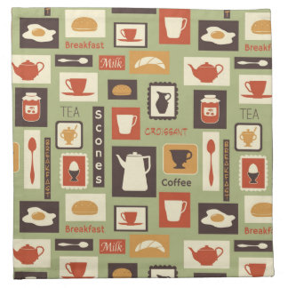 Retro pattern with kitchen dishes for breakfast napkin