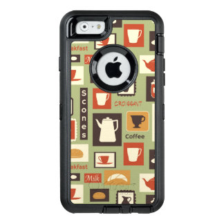 Retro pattern with kitchen dishes for breakfast OtterBox iPhone 6/6s case