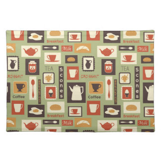 Retro pattern with kitchen dishes for breakfast placemat