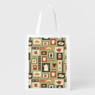 Retro pattern with kitchen dishes for breakfast reusable grocery bag