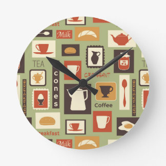 Retro pattern with kitchen dishes for breakfast round clock
