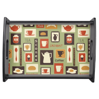 Retro pattern with kitchen dishes for breakfast serving tray