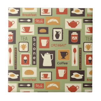 Retro pattern with kitchen dishes for breakfast small square tile