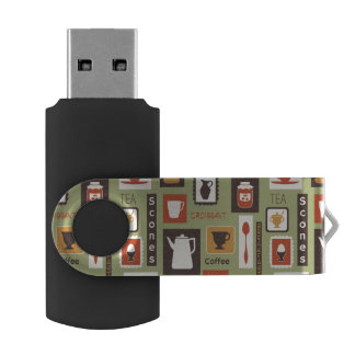 Retro pattern with kitchen dishes for breakfast swivel USB 2.0 flash drive