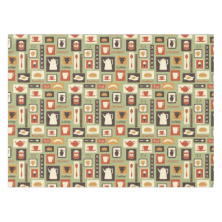 Retro pattern with kitchen dishes for breakfast tablecloth