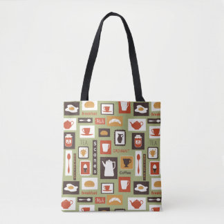 Retro pattern with kitchen dishes for breakfast tote bag