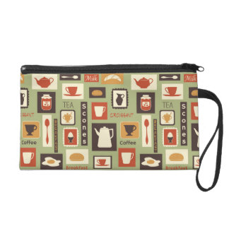 Retro pattern with kitchen dishes for breakfast wristlet