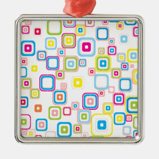Retro Pattern With Rounded Squares Christmas Ornament