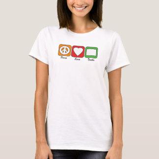 Retro Peace, Love, Books (Dark) T-Shirt