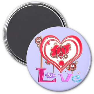 Retro Peace & Love Fridge Magnets