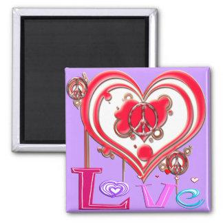 Retro Peace Love Magnets