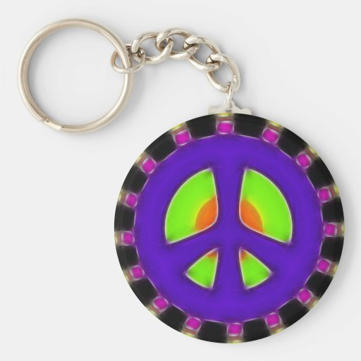 RETRO PEACE SIGN BASIC ROUND BUTTON KEY RING