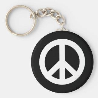 Retro Peace Sign Basic Round Button Key Ring