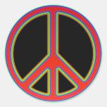RETRO PEACE SIGN CLASSIC ROUND STICKER