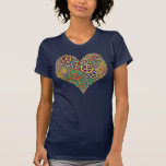 Retro Peace Sign Heart Tee Shirts