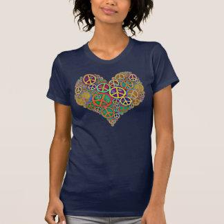 Retro Peace Sign Heart Tee Shirts
