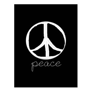 Retro Peace Sign on Black Background Postcard