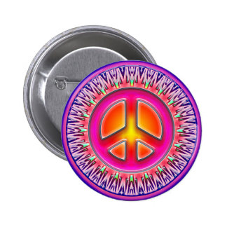 RETRO PEACE SIGN ORNAMENT 6 CM ROUND BADGE