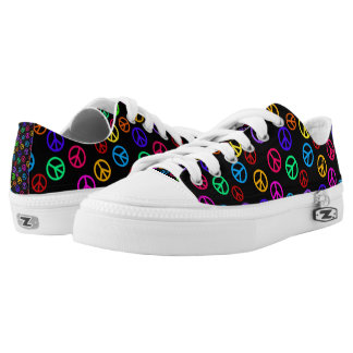Retro Peace Sign Pattern Low Tops