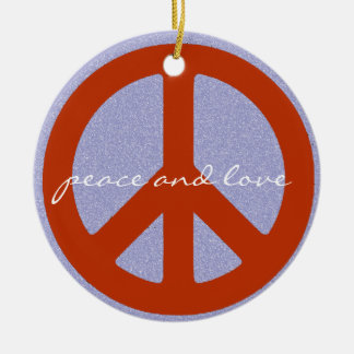 retro peace sign round ceramic decoration