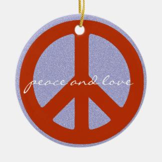 retro peace sign round ceramic decoration