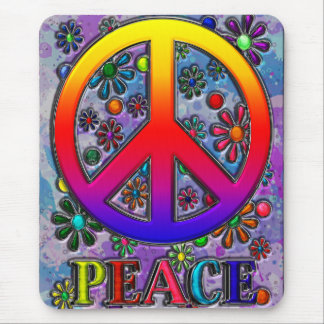 Retro Peace Sign Text & Flowers Mouse Pad