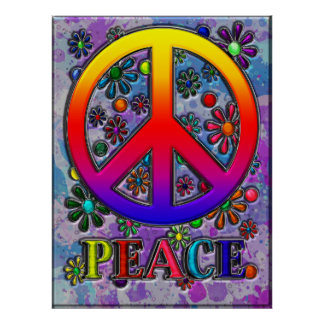 Retro Peace Sign Text & Flowers Poster