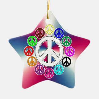retro peace signs Double-Sided star ceramic christmas ornament
