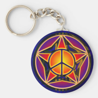 RETRO PEACE STAR BASIC ROUND BUTTON KEY RING