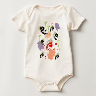 Retro peach poppy seeds baby bodysuit
