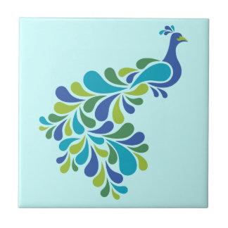 Retro Peacock Small Square Tile