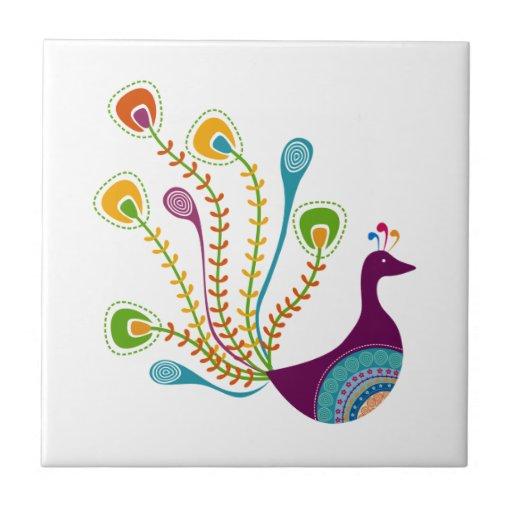 Retro Peacock Ceramic Tile
