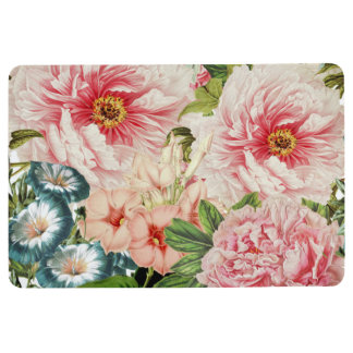 Retro Peony Flower Spring Floral Pattern Floor Mat