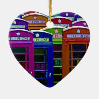 Retro Phone Boxes Ceramic Heart Decoration