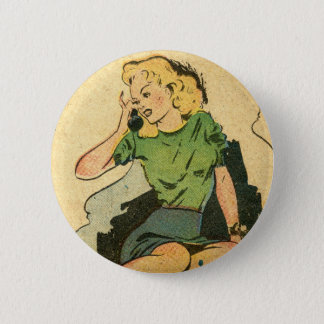 Retro Phone Girl III 6 Cm Round Badge