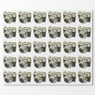 RETRO PHOTO CAMERA MOTIF WRAPPING PAPER