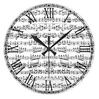 Retro Piano Sheet Music Notes Pattern Large Clock