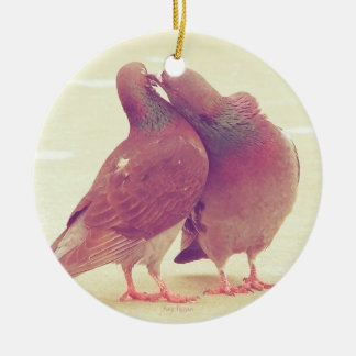 Retro Pigeon Love Birds Kissing Couple Photo Christmas Ornament